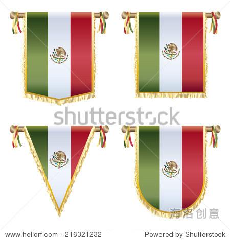 墨西哥国旗锦旗,4设计孤立在白色的