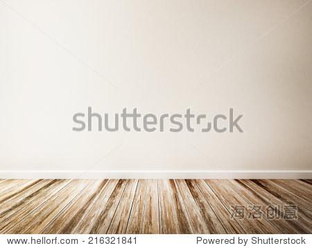白墙的空房间,木地板