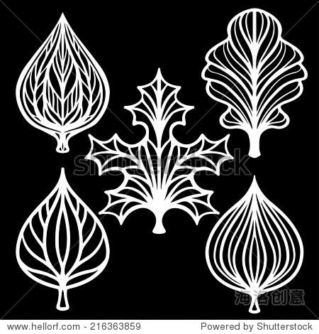 树叶.抽象装饰图标.花卉图案.孤立在一个黑色背景——