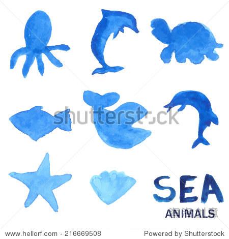 蓝色手绘水彩描绘海洋动物.