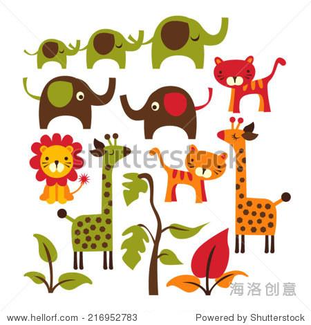 可爱的丛林动物.大象,长颈鹿,老虎,狮子.