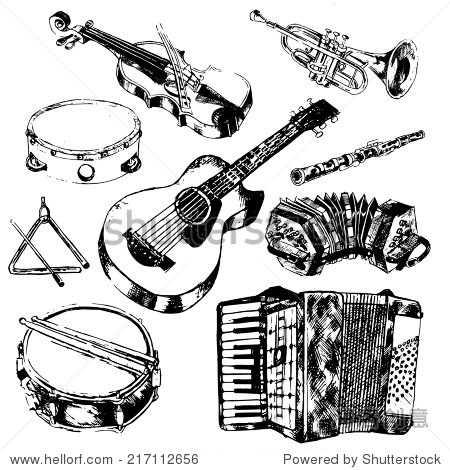classic musical orchestral instruments hand drawn