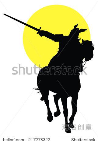 维京剑骑马在太阳的背景.矢量剪影-动物/野生生物