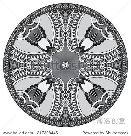 灰色圆盘子的装饰设计模板,圆的几何图案,黑白系列,矢量插图