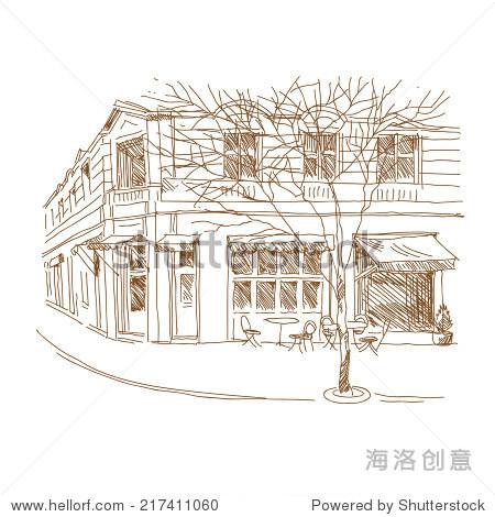 咖啡馆手绘,矢量插图