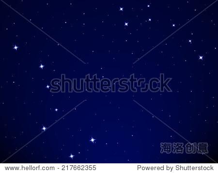 插图的北斗七星和小北斗星星座星空背景图片