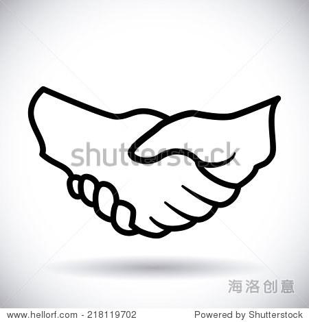 握手在白色背景矢量图设计-背景/素材,人物-海洛创意