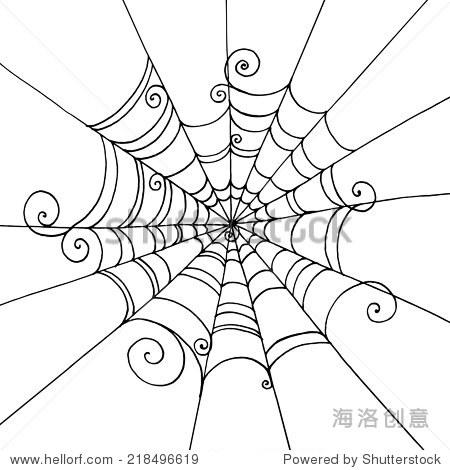蜘蛛网手绘在孤立的白色背景.背景贺卡万圣节