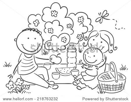 卡通家庭在户外野餐