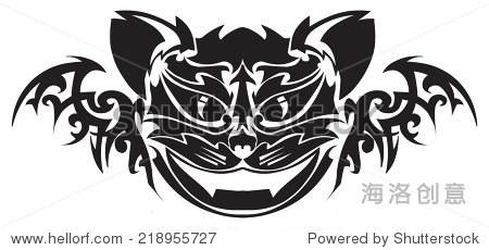 纹身设计的猫脸,古典雕刻插图.