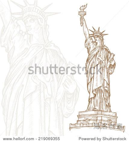 自由女神像手绘在白色背景上