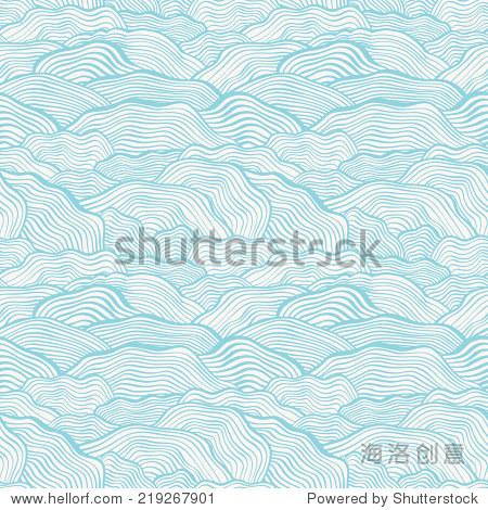 无缝模式与波浪纹理.矢量图