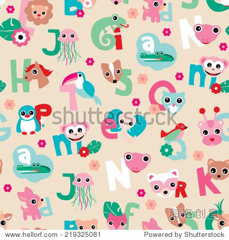 无缝的可爱动物的孩子字母abc林地说明背景模式向量