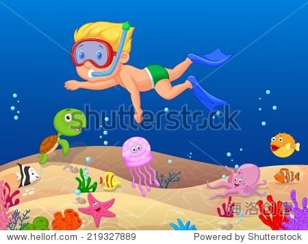 小男孩在海里潜水 - 动物/野生生物,人物 - 站酷海洛