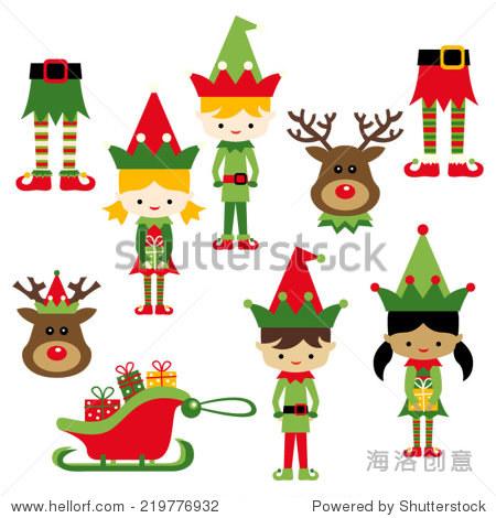 爱的圣诞节向量剪贴画插图 假期,人物 站酷海洛创意正版图片,视