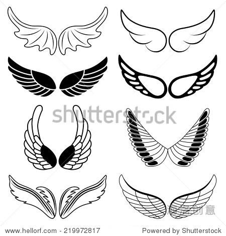 的八个黑白剪影的翅膀.矢量图