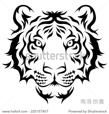 老虎头部落纹身设计.黑色孤立在白色