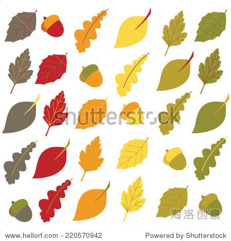 秋叶和橡子向量剪贴画集合.包括各种各样的叶子和橡子