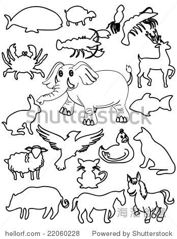 农场动物的剪影范例
