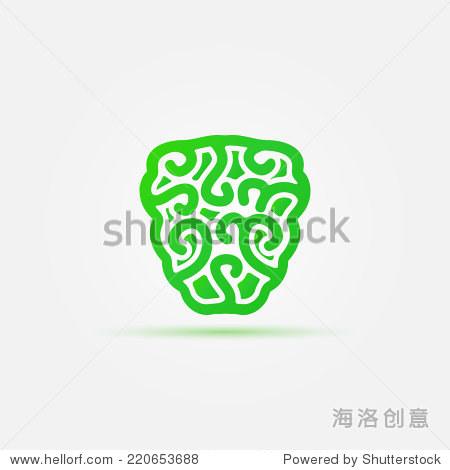 绿色大脑矢量图标——抽象思维概念的标志