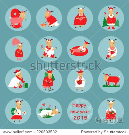 新年平图标山羊矢量图形插图设计图片