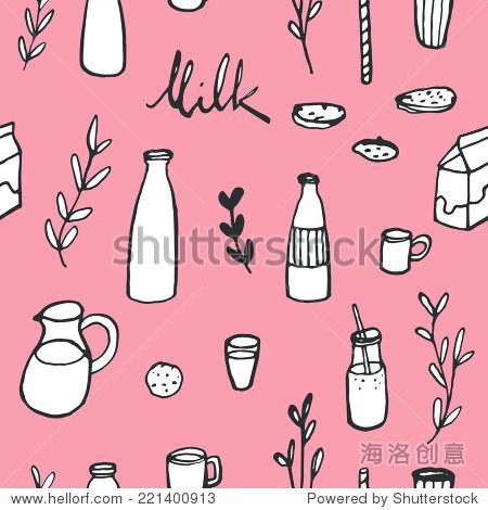 涂鸦牛奶背景.手绘无缝矢量模式厨房和咖啡馆的东西