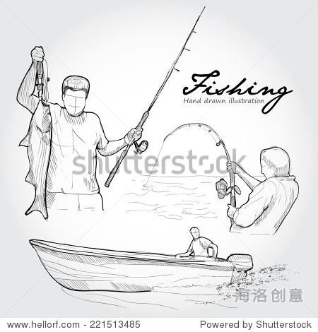 手绘图标集向量钓鱼 - 运动/娱乐活动,公园/户外