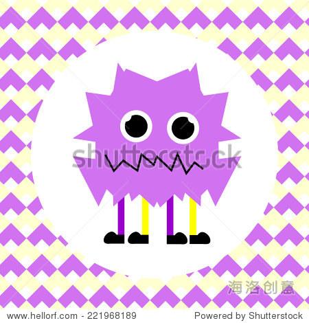 小可爱的紫色怪物.矢量图-动物/野生生物-站酷海洛,,.