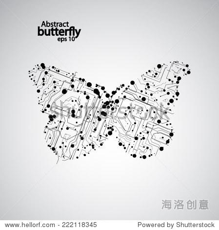 电路板蝴蝶eps 10,向量优雅的插图