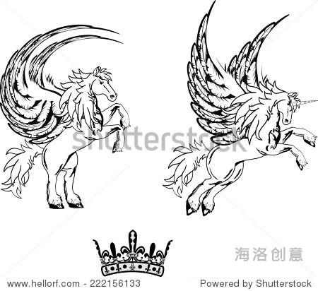 飞马星座纹身在矢量格式很容易编辑-动物/野生生物