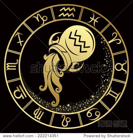 aquarius_golden aquarius zodiac sign. vector illustration