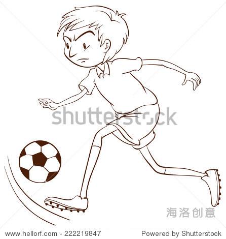 说明简单的素描的足球运动员在白色的背景