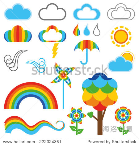 可爱的彩虹风格天气符号,树和花(向量)(jpg可用)