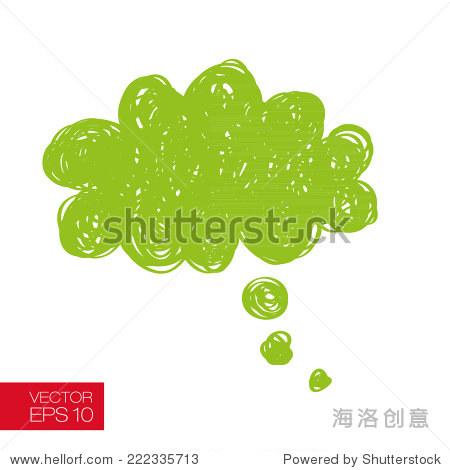 思考泡沫和云滴下降.儿童风格矢量图