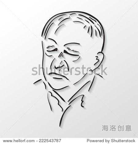 画脸老人闭着眼睛,黑白素描