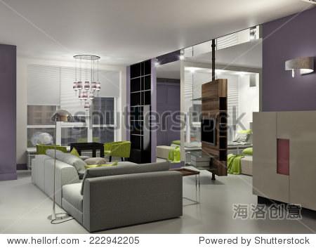 三维室内的小公寓里明亮的设计
