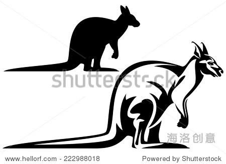 概要袋鼠黑白向量设计——澳大利亚动物群