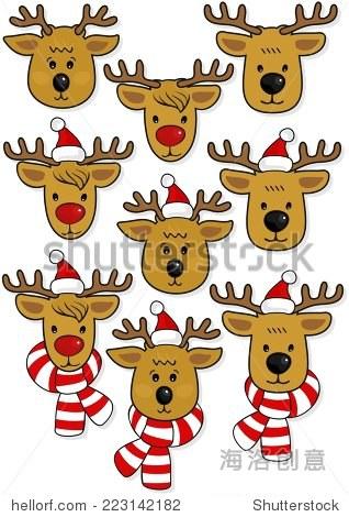 驯鹿的脸,在圣诞老人的帽子,帽子和围巾圣诞寒假动物组孤立在白色背景