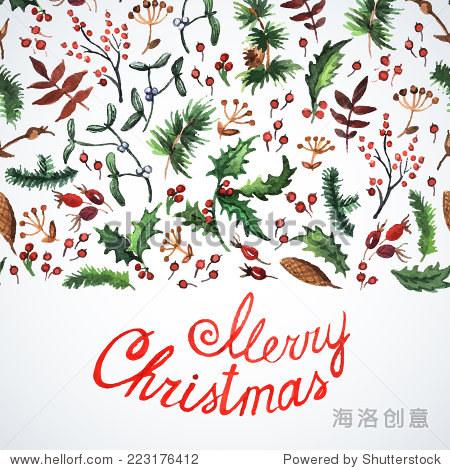 水彩.圣诞装饰.插图的贺卡