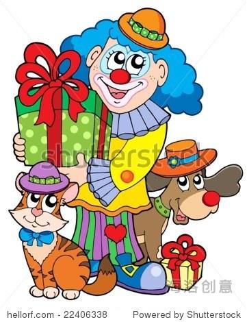 小丑与可爱的动物-插图/剪贴图