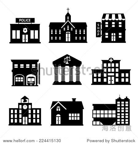 政府大楼黑白图标组警察店教会孤立的矢量图