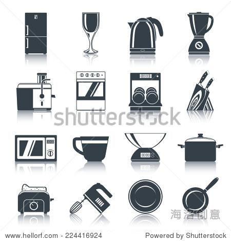 厨房电器图标黑与咖啡机炉洗碗机刀孤立的矢量图.