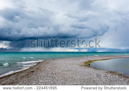 namucuo lake ,the sacred lake in tibet, under thunderstorm.