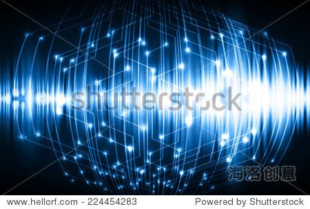 深蓝色的光抽象的技术背景为计算机图形的网站和互联网,电路板.声波.