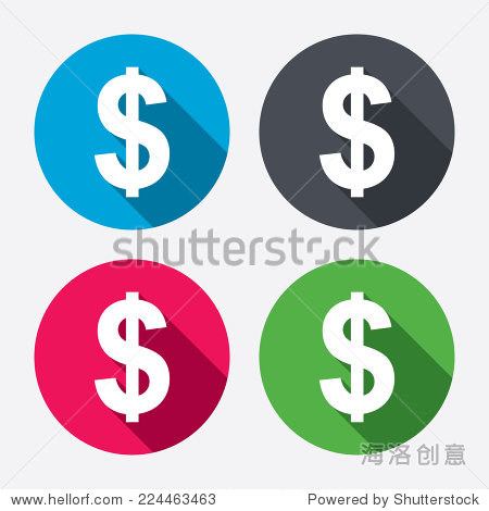 美元符号图标 美元货币符号 钱标签 圆按钮与长长的阴影 4图标集 向量 图片