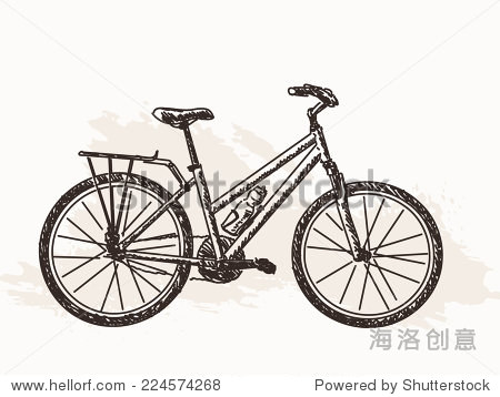 自行车的草图手绘插图