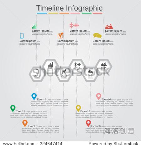 时间轴与细胞信息图,元素和图标.矢量图