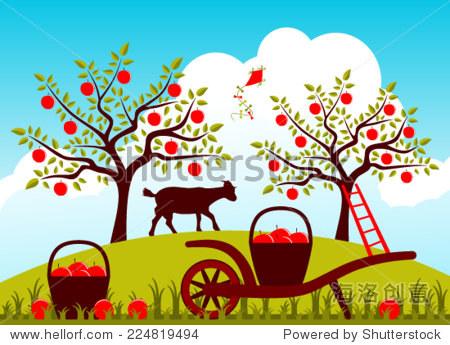 向量手推车在苹果园筐苹果-自然,公园/户外-海洛创意