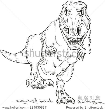 霸王龙简笔画-vector run dino T Rex isolated on background