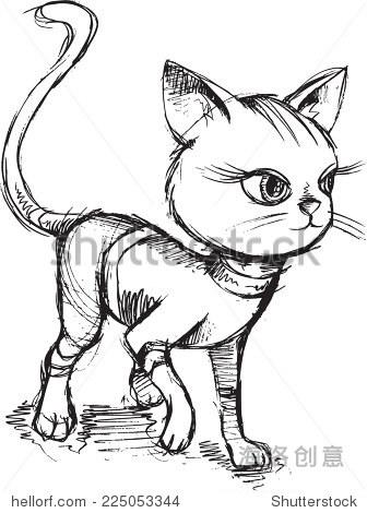 猫小猫素描涂鸦矢量插图艺术